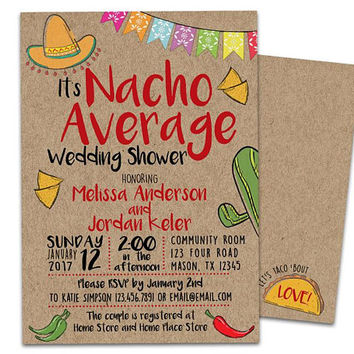 Nacho Average Bridal Shower Invitation -  Nacho Fiesta Wedding Shower - Taco Bridal Shower Invite - Taco Wedding Shower Invitations Kraft