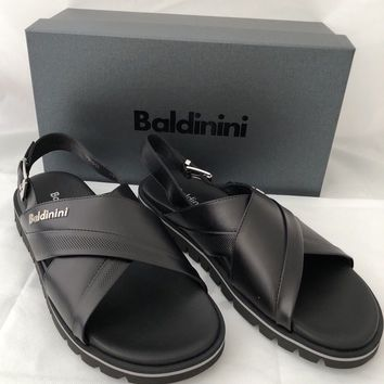 NIB Baldinini Men's Leather Sandals Black 8 US (41 Eu) 795917 Made in Italy
