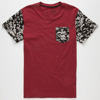 Blue Crown Vines Mens Pocket Tee Burgundy  In Sizes