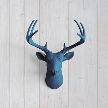 The MINI Virginia Navy Blue Faux Taxidermy Resin Deer Head Wall Mount | Navy Blue Stag w/ Colored Antlers