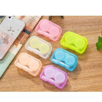 20PCS/LOT Cute Colorful Contact Lens Box Colored Lenses Container Holder With Piler Eyewear Accessories Candy Contact Lens Case