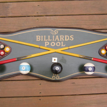 Billiards Sign Pool Sign Wood Billiards Pool Sign Coat Rack Game Room Decor Man Cave