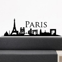 Wall Decor Vinyl Sticker Room Decal Paris France City View Map Landscape Silhouette 749