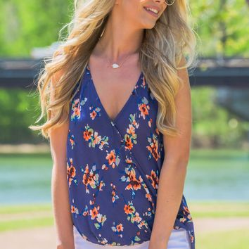 Summer Blue Floral Top