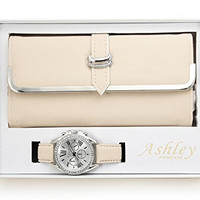 Women's Matching Watch & Wallet - Beige