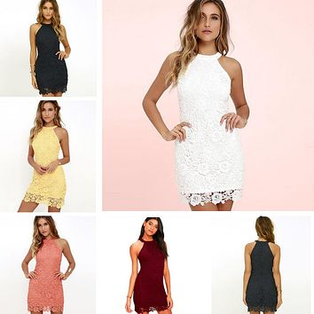 DeRuiLaDy Women Casual Dress Elegant Wedding Party Sexy Night Club Halter Neck Sleeveless Sheath Bodycon Lace Mini Dress vestido