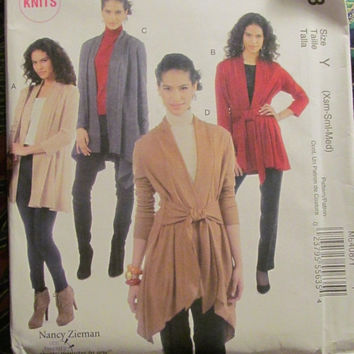 SALE Uncut McCall's Sewing Pattern, 6408! XSml/Sml/Medium/Misses/Women's Jackets/Coats/Sweaters/Robes/Loose Fitting/Casual/Knits/Wovens