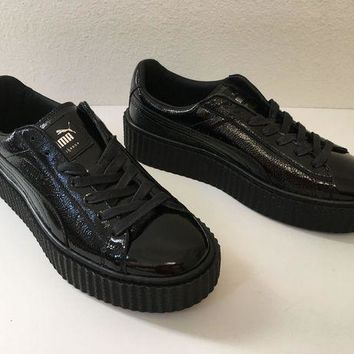 New Puma Rihanna Fenty Creepers Wrinkled Black Patent Leather Sneakers Sz 6.5, 9