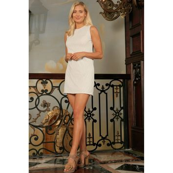 Off-White Lace Sleeveless Cute Spring Party Shift Mini Dress - Women