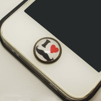 1PC Retro Epoxy I Love Mustache Transparent Time Gems Alloy  Cell Phone Home Button Sticker Charm for iPhone 4,4s,4g,5,5c