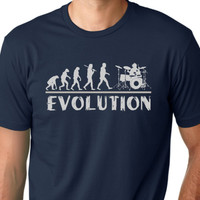 Drummer Evolution T-shirt music humor Drums tee