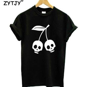 CHERRY SKULL Print Women Tshirt Cotton Casual Funny t Shirt For Girl Top Tee Hipster Tumblr Drop Ship HH-52