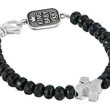 King Baby Studio Faceted Onyx Bracelet w/ Pave Cross