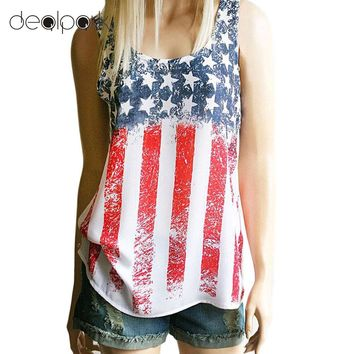 2017 Fashion Women Summer Vest American Flag Star Striped Print Sleeveless Loose Chic Casual Tank Top Red