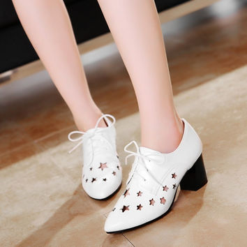 Women Pumps Pointed Toe Lace Up Cutout High Heels Shoes Woman 3417