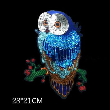 Owl Sequined Sew on Patches clothes applique embroidery cartoon Motif Applique embroidery T-shirt accessory