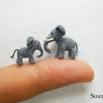 Extreme Tiny Elephants  Micro Crochet Miniature Animals  by SuAmi