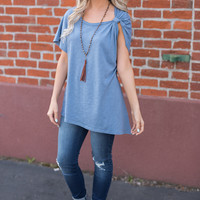 Just Right Knot Detail Basic Short Sleeve Top (Blue)