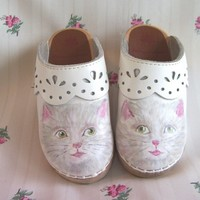 Toddler Girl Shoes Clogs Kitty Size.. on Luulla