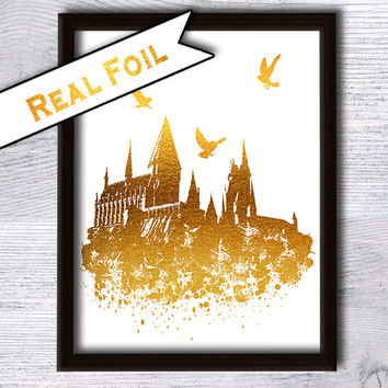 Hogwarts poster, Harry Potter real gold foil poster Hogwarts glitter wall art Hogwarts castle Shiny print Fantasy decor Harry Potter gift G1