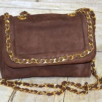 Bob Ellis Evening Cross Body Bag Made in Italy Leather Brown Gold Hardware VTG