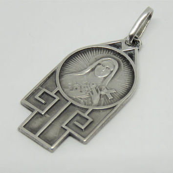 Antique French, Art Deco, St Therese Of Lisieux, Silver, Pendant, Medal