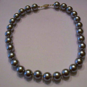 Vintage Silver Gray Pearl Necklace 1950s 1960s Costume Jewelry Grey Pearls Wedding Gift