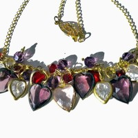 Romantic Valentine Necklace of Swarovski Hearts in  Multi Color Crystals