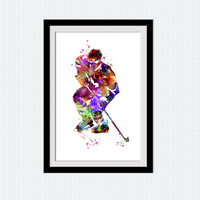 Hockey player print Hockey player poster Watercolor sport illustration Home decoration Kids room wall art Hockey decor wall hanging W383
