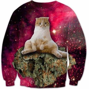Women/Men Long Sleeve O-Neck 3D Printed Galaxy Crewneck Space Cats Hipster Sweatshirt Bacon Cat Food Hoodies Jumper Tops