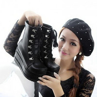 Women's Punk Boots Platform Lace up Creepers Gothic Shoes Slouch Combat Boots 4b
