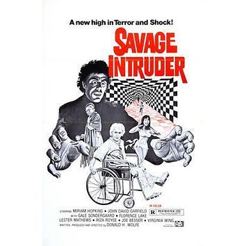 Savage Intruder Movie poster Metal Sign Wall Art 8in x 12in