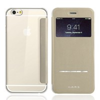 iVAPO Apple Iphone 6 Case 4.7'', Ultra Slim Flip Cover Pu Leather + Pc Back Cover Smart [Visible] Window Sliding [Metal Strip] Answering the Phone for Iphone 6 4.7 Inch (MM550) (Gold)