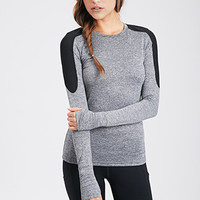 FOREVER 21 Power Mesh Athletic Top Charcoal/Black