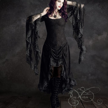 Black Lace Cassiel Dress with High-Low Skirting by Rose Mortem - Romantic Gothic & Fairy Dress