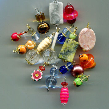 assorted stone glass bead drop charms gemstone pendants mixed lot 18 pc #supply2064