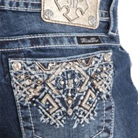 Miss Me Bootcut Jeans with Aztec Boho Pocket Sizes 25-32 JP8161B