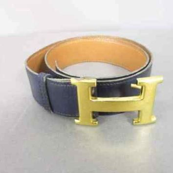 Auth HERMES H Belt Black Gold Leather & Metallic Material Circle H Belt