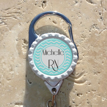 Personalized RN Bottlecap Carabiner Badge Reel, Rn Lpn Np Nursing Id Badge Holder, Medical, Office, Doctor, Lanyard Badge Reel
