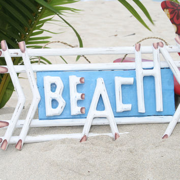 """""""BEACH"""" SIGN 22""""   WEATHERED STYLE - BEACH/COTTAGE DECOR"""