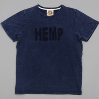 jungmaven - hemp batik dyed hemp cotton blend t shirt mineral wash navy