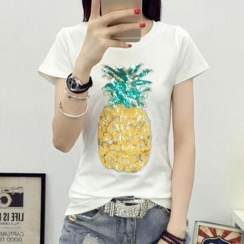 Woman Casual Tops Tee  Harajuku Summer Pineapple Sequins Short Sleeves O-neck T-shirt Female loose Cotton Tops Shirt 33004 GS