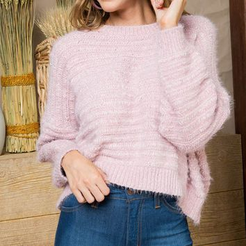 Pastel Princess Long Dolman Sleeve Round Neck Fluffy Pullover Sweater