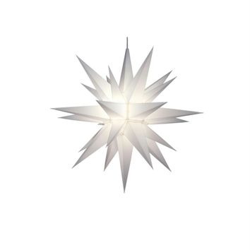 "21"" Lighted 3-Dimensional White Moravian Star Hanging Christmas Decoration"