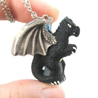 Dragon Shaped Porcelain Ceramic Targaryen Pendant Necklace in Black | Game Of Thrones
