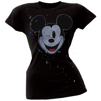 Mickey Mouse - Wink Splatter Juniors T-Shirt