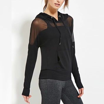 Solid Mesh Hoodie Perspective Patchwork Draw Cord Jacket