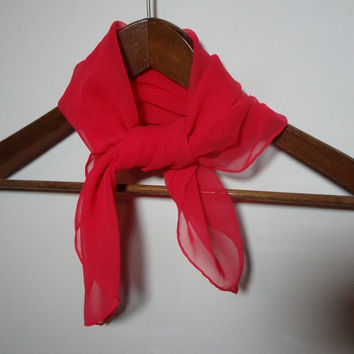 Vintage Women's Bright/Hot Pink Sheer Chiffon Hair or Neck Scarf