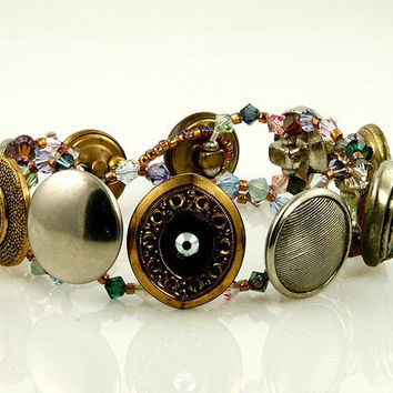 Crystal Medley Vintage Button Beaded Bracelets