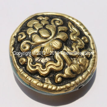 1 Bead - Big Tibetan Repousse Carved Brass Auspicious Lotus Round Disc Shape Bead with Turquoise Side Inlays -  B2275-1